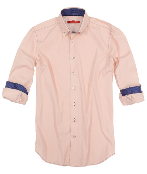 "Wear the buttery soft luxurious stretch and feel amazing! You will indeed enjoy the enduring comfort and cool style. Pale pink with a Navy & Royal stripe inside the collar stand and cuffs. Georg's inspiration, ""I just love a vintage & effortless look that can take you day into evening."" Wear this indigo blue tucked in or out with a denim and roll the sleeves the Georg Roth Roll, or dress it up with a jacket.  2 Button collar stand Button down collar Slightly tapered  Machine wash cold and lay flat to dry, light iron needed. Okay to dry clean 75% Cotton 21%Polyamid 4% Elastin"