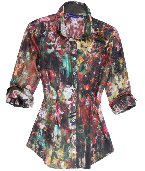 Ladies, if you are a Georg Roth fan and appreciate our details and quality, you will have to have this beauty! A soft cotton print in a autumn pallet to be worn with practically any color on the bottom. A elegant contrast of Hunter and creme in the collar stand and cuffs makes fun for the Georg Roth roll of the sleeves. Dress it up or casual. As known for the spectacular details this jewel is finished with a peek a boo sequin trim under the collar stand!  100% Cotton Machine wash okay Slightly tapered at the waist and hip 2 button collar stand that shows the sequin trim