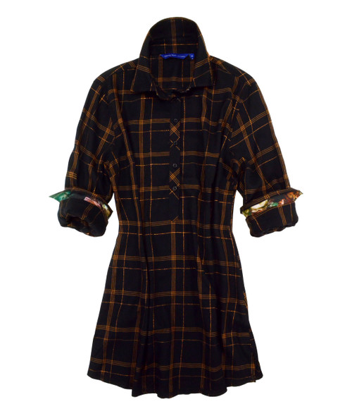 Women Plus sizes Dramatic and alluring is our luscious plaid tunic.  The copper lurex on the black ground gives way to just enough shimmer to be sophisticatedly exciting and ultra flattering.  The cuffs, if you care to roll them, have a small print to add originality to this outstanding look.  But is doesn't stop there!  The underneath collar is embellished with our band of small sequins in the copper, rust and hunter green tones.  As always, the hem is our double zig-zag stitching for that finished and complete high style tunic.  55% Cotton/ 44% Viscose/ 1% Poly Imported European fabric
