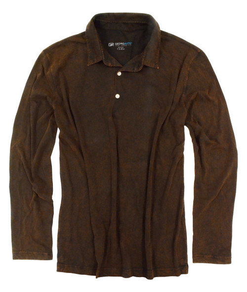 The World's Greatest Long Sleeve Chocolate washed Polo-Shirt Made of natural materials Our guarantee: 100% Supercombined Pima Cotton / Organic Wash UP TO 60 DEGREES Celcius  Zero percent shrinkage, dryer proof Maximum maturity of elasticity & shape Ecological dyes of supreme quality & free of chemicals (Trimmer cut please size up)