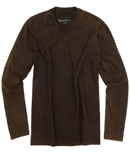 Brown vintage washed V-Neck-Long Sleeves SUPER SOFT!!!! Georg Roth is proud to feature his love of t-shirts.  The World's Greatest T-Shirt Made of natural materials Our guarantee: 100% Supercombined Pima Cotton / Organic Wash UP TO 60 DEGREES Celcius  Zero percent shrinkage, dryer proof Maximum maturity of elasticity & shape Ecological dyes of supreme quality & free of chemicals