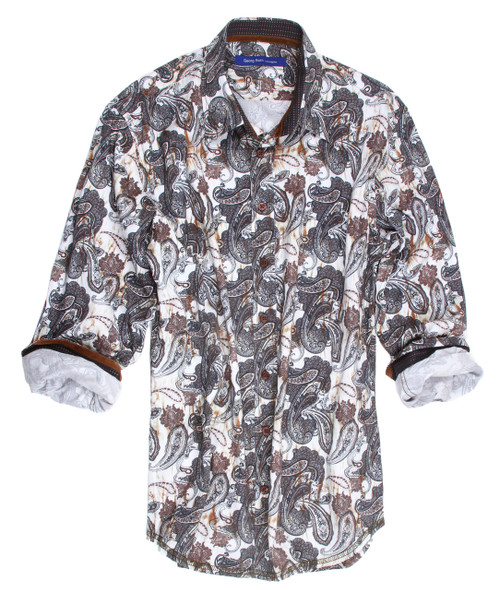 Classy and high style, this amazing print shirt will make a statement of good taste where ever you go.  Morning, noonor night you just can't miss with this handsome print of grays, charcoals, and brown on a white ground.  It is embellished with a small companion pattern in the collar stand and cuffs when rolled up.  The fabric is our finest imported European 100% cotton and as always the Georg Roth fit is to perfection.  This shirt will truly be a favorite to enjoy. 100% Cotton