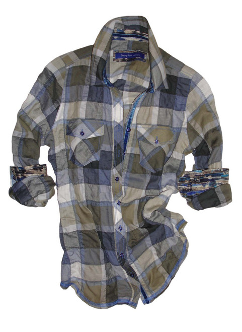 The Denim Companion! Contemporary plaid with a twist in shades of blues and taupe. Casual and comfortable with two flap pockets. Liberty of London contrast floral inside collar and cuffs. Velvet blue ribbon adds the finishing touch in the collar stand and on the right inner placket.