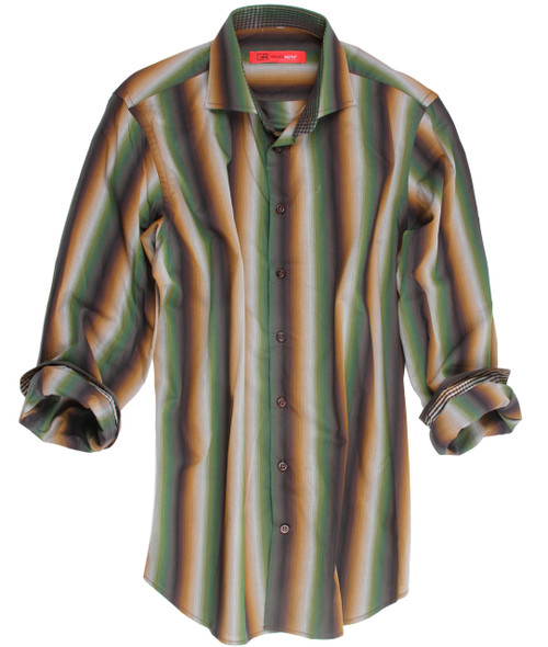 Autumn Ready! Rich and elegant describes this handsome stripe in Green and brown with a hint of grey. You will love this with brown and camels to either wear dressed up or sporty. Done with a perfect finishing touch of a coordinating mini check inside the collar stand, inner front placket piping and cuffs. 100% Cotton