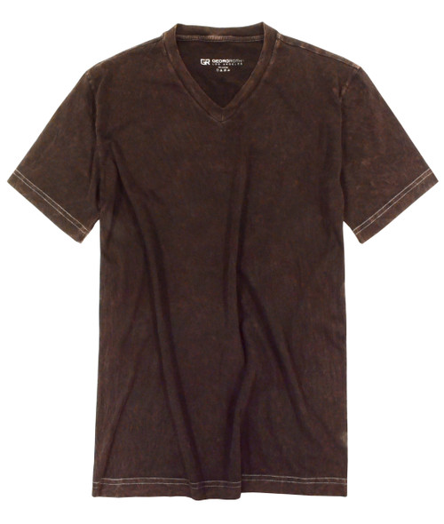 Georg Roth is proud to feature his love of t-shirts.  V-Neck Brown Washed The World's Greatest V-Neck T-Shirt Made of natural materials Our guarantee: 100% Supercombined Pima Cotton / Organic Wash UP TO 60 DEGREES Celcius  Zero percent shrinkage, dryer proof Maximum maturity of elasticity & shape Ecological dyes of supreme quality & free of chemicals