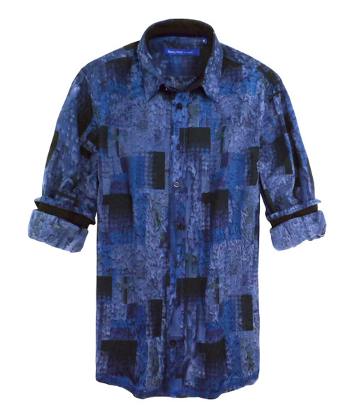 Fashion vintage done the Georg Roth way! Super soft with our specialty rain wash technique layered on top of a marvelous abstract block print gives this shirt the most comfort and style. Each shirt has its own unique character as our rainwash is to look vintage and a relaxed look. For fun roll your sleeves the Georg Roth way and enjoy this limited edition at your next event. Black contrast fabric at the cuffs and collar stand complement this shirt to perfection. Cotton Blend Machine or hand wash cold. Hang to dry, light iron if desired. Dry Clean. 100% Cotton.