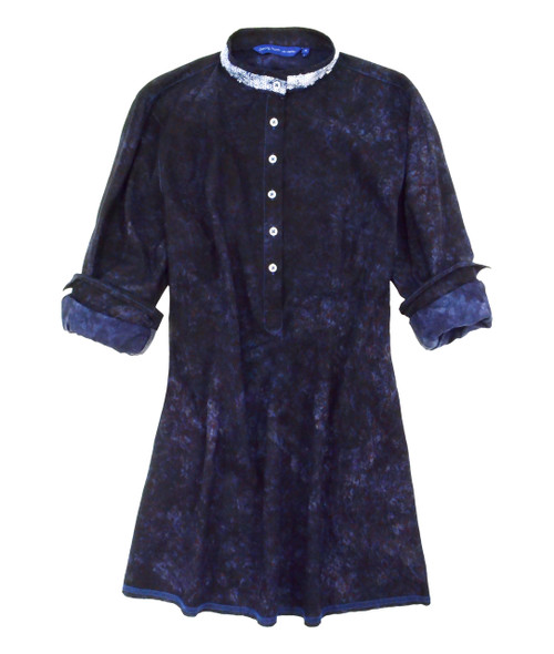 Long-Sleeves-garment dyed-Tunic Tunic with Sequin trim on banded collar 100% Cotton