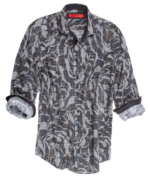 This rich and elegant print is created with our love of rich autumn tones of browns, grey and taupe.  Detailed just right with a woven chocolate mini tone on tone pattern inside the collar stand and cuffs. For casual fun wear it out with the Georg Roth roll of the cuffs or dress it up with a great sport coat or brown leather jacket. 100% Cotton