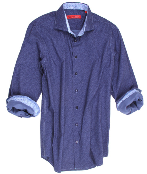 "It's absolutely ""the real thing""!  Casual, handsome and high style!  This beautiful Blue on Blue shirt is so very versatile it will take you anywhere anytime.   This wonderful imported European fabric  is 100% cotton and is completely washable.  The small white and blue pattern on the collar stand and cuffs add that special and original touch to compliment this already great, high style fashion.  For that finishing touch, the hemline is in a double zig-zag stitch making this look of perfection absolutely perfect! 100% Cotton"