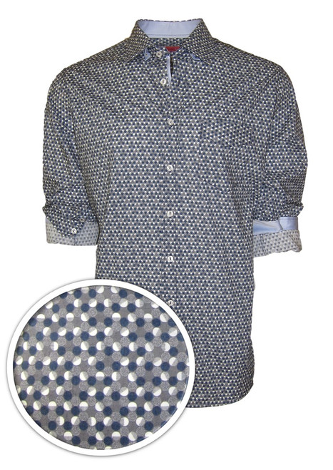 """A man for all seasons"" and a ""shirt for all reasons""!  Wherever...whenever, morning, noon or night this will be one of your most favorite.   That casual business meeting or an evening out dining, it will take you anywhere.   This outstanding imported European 100% cotton fabric will fill an fit like a dream.   Blue, gray and white and embellished with a solid white in he collar stand and on the cuffs when rolled add that special touch.    The double zig-zag stitching on the hem line make this the finished look of perfection 100% Cotton"