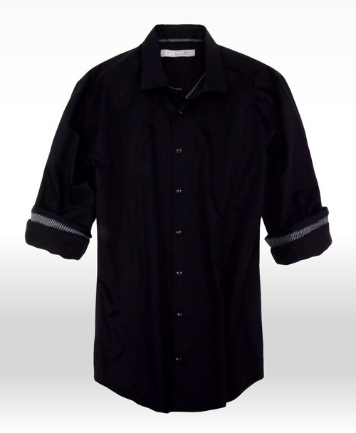 Fabulous is the best description for this very fine 100% Swiss Cotton shirt.  Black on Black with a companion embellishment inside the cuffs.  When the sleeves are rolled this Black and Grey small check pattern gives that special, original look to this most stunning shirt.  Georg Roth as always, prides himself for his perfect fit and beautiful fabrics.  Everyone needs that Black shirt in his wardrobe and guys this isn't just any Black shirt.......This is a Georg Roth Black shirt.  See it for yourself and enjoy it all year long!