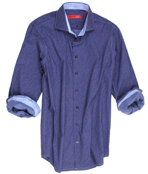 "Big and Tall Men's Shirt It's absolutely ""the real thing""!  Casual, handsome and high style!  This beautiful Blue on Blue shirt is so very versatile it will take you anywhere anytime.   This wonderful imported European fabric  is 100% cotton and is completely washable.  The small white and blue pattern on the collar stand and cuffs add that special and original touch to compliment this already great, high style fashion.  For that finishing touch, the hemline is in a double zig-zag stitch making this look of perfection absolutely perfect! 100% Cotton"