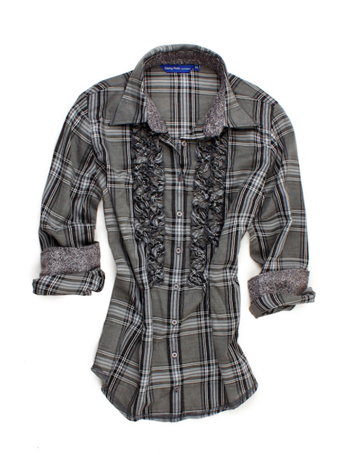 Soft stunning charcoal and grey plaid with details galore. A mix of fabrics making this truly unique and special. Small ruffle front adding a soft and feminine look, works perfect for dress under a black jacket. 100% Cotton