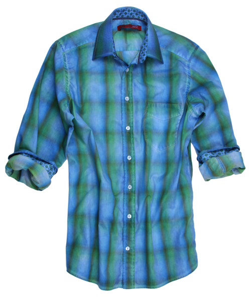 Another stunning contemporary washed plaid by Georg Roth, featuring soft hues of spring green, olive, and aqua. Roll up the sleeves to showcase the mini motif print on inside the cuffs and collar stand. Goes perfectly with your favorite denim. 100% Cotton