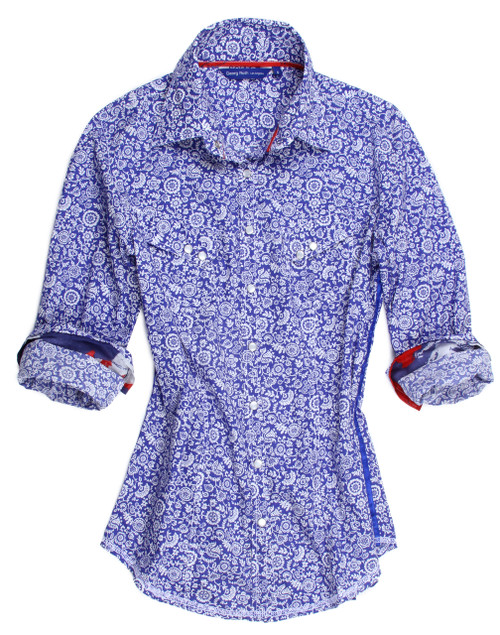 Liberty of London Summer print in blue 100% Cotton Long Sleeves Women tops
