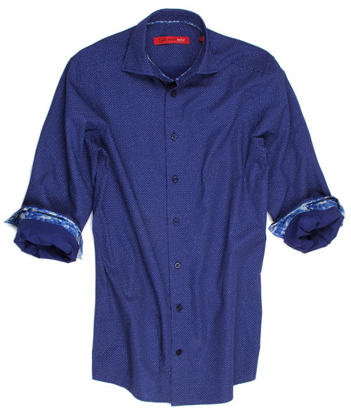 It's time to spruce up your wardrobe and there is no better way to do it than with a new Georg Roth shirt.   This luscious blue imported fabric is 100% cotton. Beautifully tailored and enhanced with a companion print of lighter blue tones adds distinction to this great look. Whatever the occasion this shirt will take you anywhere. Big and Tall 100% Cotton