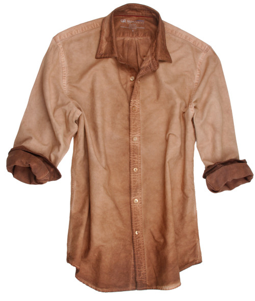 Style Trend, Georg Roth is definitely a leader in his class, as seen by this newest creation of a garment dyed shirts. An all time favorite this season is a relaxed look with layering, as T-shirts are hot! Wear this shirt open as an overshirt with one of our T's and feel great. Rich shades of camel looks awesome with denim, browns or black bottoms. Regular cut. Very cool small button down collar (Georg's trend is to leave the buttons unbuttoned)  100% Cotton  Made in Peru