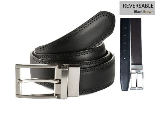 Frankfurt 35667 Black / Brown Reversible belt with satin nickel buckle