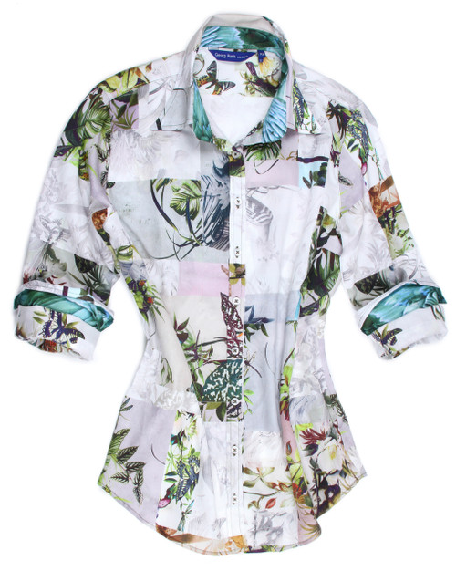 Let your friends see you as the person you truly are!!  Happy, exciting, beautiful  and definitely stylish.  Everything is most  enjoyable when we feel good and look good.... and this is the perfect answer.  This exotic colorful print is our finest 100% imported cotton shirt for comfort and style.  The collar stand and cuffs, when rolled, are embellished in a companion pattern giving this beauty the originality that Georg Roth is known for.  Day or evening, jeans or pants it's a winner and will take you anywhere.  100% Cotton