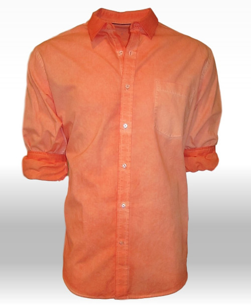 The perfect shirt for spring! Our favorite shades of tangerine and orange come together with  a very special Garment dye wash making this  gem a perfect companion with denims and khakis. Featuring a soft collar with one breast pocket, giving a new look to your style when wearing it open with a Tee.  The cuffs and collar are emphasized showing the true beauty of the Garment wash technique.   Slightly tapered. For a relaxed fit size up one size. 100% Cotton