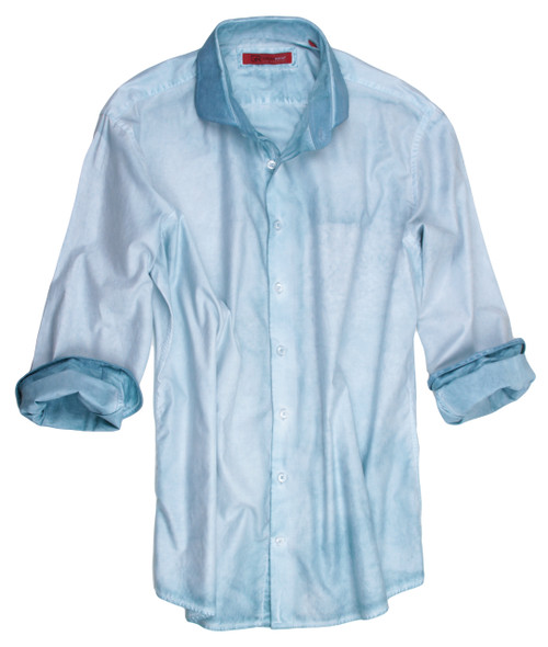 The perfect shirt for spring!  Rich & handsome shades of Mint & sea foam come together with a very special Garment dye wash making this gem a perfect companion with denims and khakis.  Add a new look to your style when wearing it open with a Tee. 1 Breast pocket  The cuffs and collar are emphasized showing the true beauty of the Garment wash technique.  Slightly tapered. For a relaxed fit size up one size. 100% Cotton