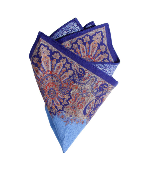 Pocket Square Blue 1050 Made in Italy