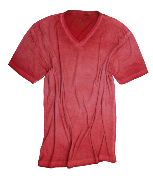 Men's Short Sleeves T-Shirt Color Brick / Garment Dyed 60% Cotton / 40% Polyester
