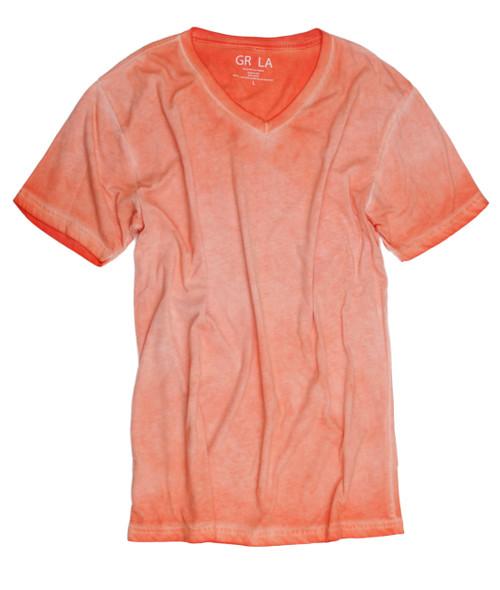 Men's Short Sleeves T-Shirt Color Orange / Vintage Washed 100% Cotton