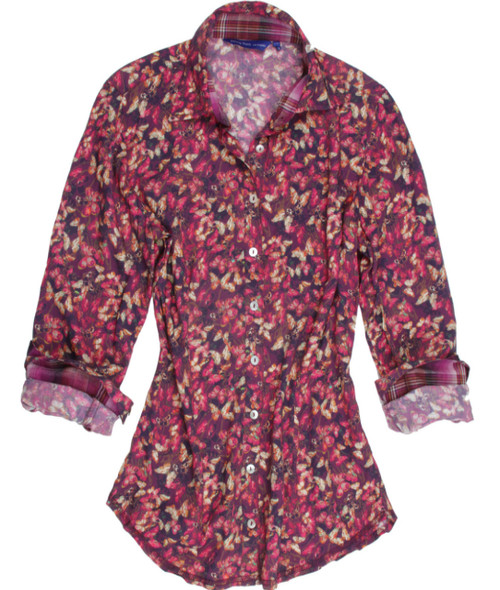Long-Sleeves-Liberty-of-London-Print-SILK/ Cotton-Women's Blouse   Beautiful and soft is this jewel of a multi color butterfly print. Luscious shades of pinks and burgundy are complimented with a coordinating plaid inside the collar and cuffs. The fantastic collar treatment of a bow on one side frames the face with elegance.  Silk & Cotton blend