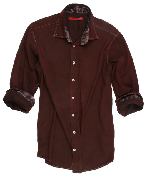 Long-Sleeves-Stretch-Mens Shirt with a stunning wine garment dye. Fitted