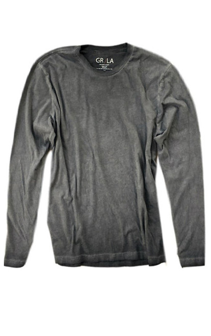 Men's Long Sleeves T-Shirt Color Basalt Grey / Garment Dyed Washed Sizes S - XXL 100% Cotton