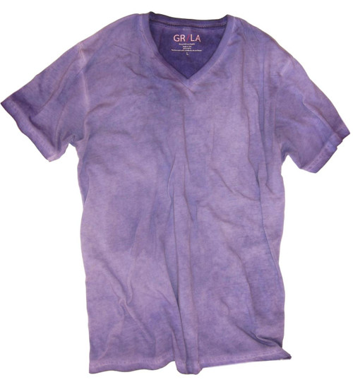 Men's Short Sleeves T-Shirt Color Purple / Dyed Washed 60% Cotton / 40% Polyester