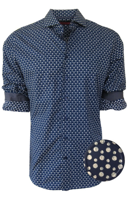 """Welcome Autumn!!  Ease into this new fall season with a distinctive style of 100% soft, comfy cotton.  A """"go-to"""" shirt of Midnight blue with a Cream dot will take you from morning to evening ....from a business meeting to a dinner get together.  Georg Roth has embellished this number with a small Navy and Camel companion pattern for the sleeves when they are rolled and a pipping inside the open collar. """"Classic"""",""""cool"""" and casual to spruce up any wardrobe!!  100 Cotton  Machine wash, hang or lay flat to dry, irons easily   Dry Clean okay"""