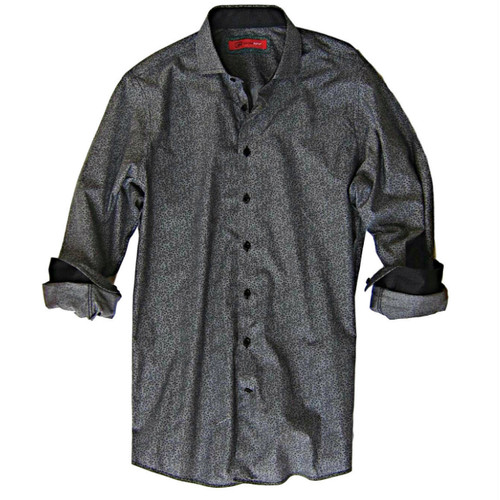 Your wardrobe deserves a great new look and so do you!!  A New Year....A new look.  This handsome very elegant shirt lends it's self to a dashing, sophisticated look for any occasion.  From a business meeting to evening you will look and feel your very best in this fine grey and black Pima cotton fabric.  Notice the embellishments on the sleeves when they are rolled and the pipping on the inside placket.  The solid black is the perfect companion for this very perfect look.  The zig-zag stitching on the hem line is just one of the finishing touches that Georg Roth has always prided himself on.  100% Pima Cotton Completely washable