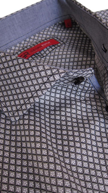 "Seeing is believing!!!  This is not to be missed out on!!  Simplicity at its finest!  Picture this Black and Grey small print with Black or White pants for a very dramatic and dressy look.  Then dress it down with a pair of Blue jeans and still look well dressed yet casual for those ""go anywhere"" times.    A textured fabric is on the collar stand and inside the cuffs adding another great look when the sleeves are rolled.  To add to all this is our wonderful, soft,  finest 100% Pima Cotton that we are so proud of.  A shirt for any season.......a shirt for any reason!"