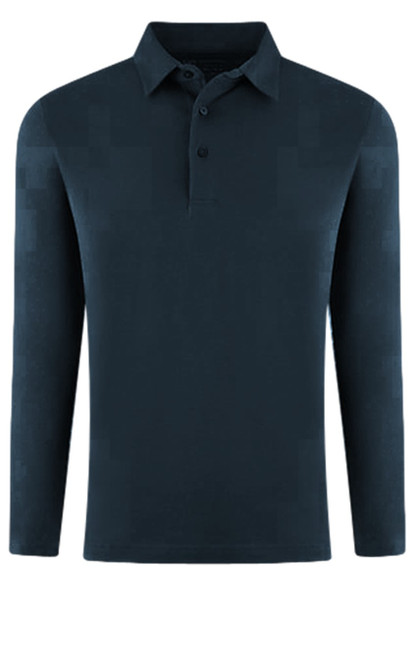 LUXE PIMA LONG SLEEVE POLO NAVY  POLS-5013