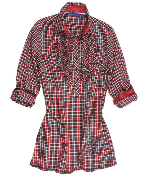 So soft, comfortable & fashionable! Just right is our mini Black & Red Plaid, with a hint of silver metalic. A super detail of the frayed ruffle front dresses it up and certainly makes this tunic very special. 100% Cotton