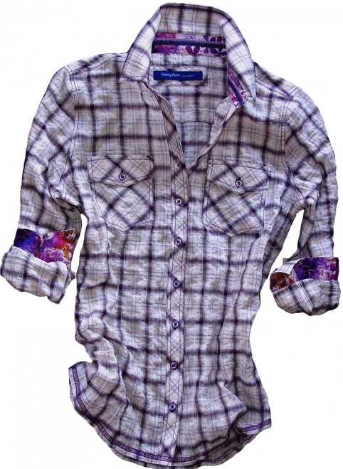 What a flirt - this soft and lightweight crinkled purple plaid is effortlessly chic & comfy. Detailed with a gorgeous purple & lilac Liberty of London floral contrast in collar & cuffs. Finishing touches of a purple and lilac crushed velvet ribbon inside the collar. All seams with contrast stitching in purple. Completed by 2 flap pockets with button closure.