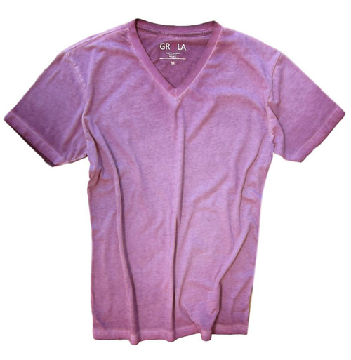 Men's Short Sleeves T-Shirt Color Plum / Dyed Washed 100% Cotton
