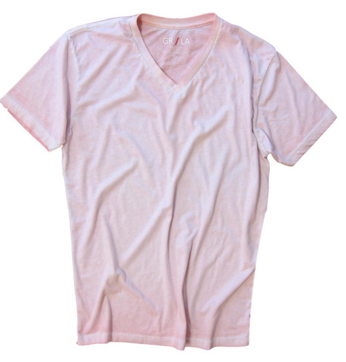 Men's Short Sleeves T-Shirt Color Pink / Garment Dyed 100% Cotton