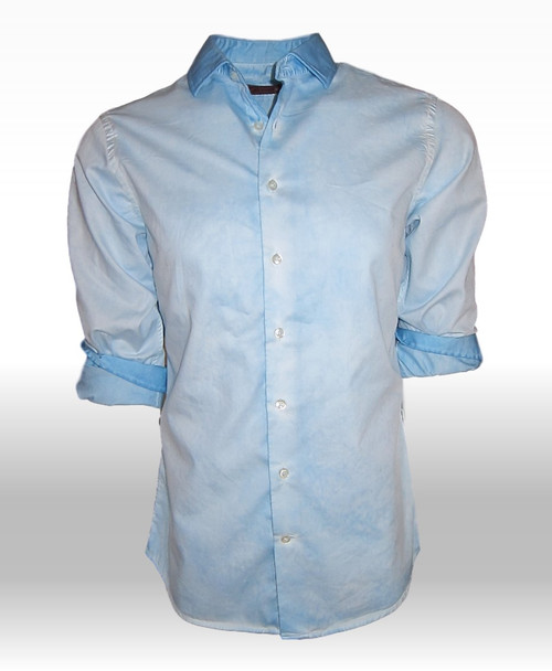The perfect shirt for anytime, anywhere! Dress it up or go casual and be sure you will be noticed! Rich & handsome shades of blues & turquoise come together with a very special Garment dye wash making this gem a perfect companion with denims and khakis. Add a new look to your style when wearing it open with a Tee. The cuffs and collar are emphasized showing the true beauty of the Garment wash technique.  Slightly tapered. For a relaxed fit size up one size. 100% Cotton