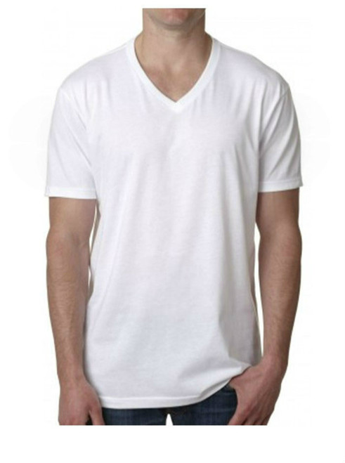 Men's Short Sleeves V Neck T-Shirt Color White 60% Cotton / 40% Polyester