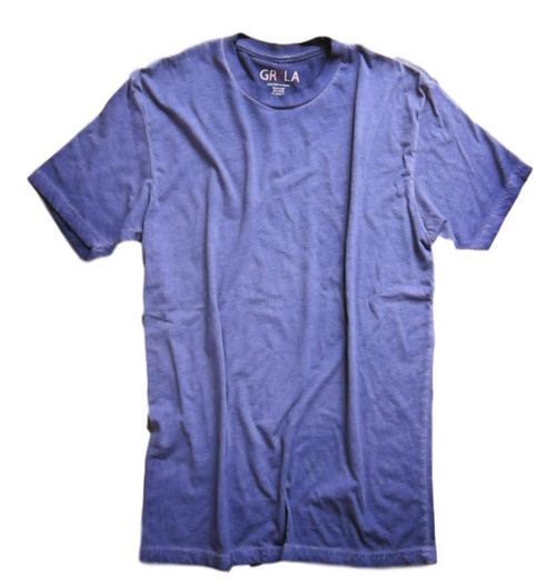 Men's Short Sleeves Crew T-Shirt Color Purple / Garment Dyed Made in America 60% Cotton / 40% Polyester