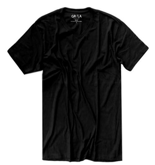 Men's Short Sleeves V-Neck T-Shirt Color Black 60% Cotton / 40% Polyester