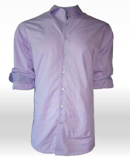 "Once again we offer you our very finest Pima Cotton.  This one is a luscious Lavender woven fabric that is  comfortable and stunning.  Lavender is so very ""in"" and versatile it looks fantastic with Navy, Black, White or Beige..... just about any color of Jean or Pant you choose to wear it with.  If you care to roll the sleeves, Georg has added a companion fabric in a Lavender and Purple to yet again add that Georg Roth look of distinction."
