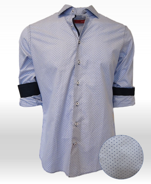 How refreshingly casual is this super soft, fine 100% Pima Cotton shirt!    A  Blue and Navy small print that goes with so much and looks so handsome and carefree.  The solid navy contrast in the cuffs, when rolled, and down the front placket add that special complimentary touch that Georg Roth shirts are known for.  Summer is here and what better way to enjoy the warm days than with this very flattering crisp, cool  addition to your wardrobe!
