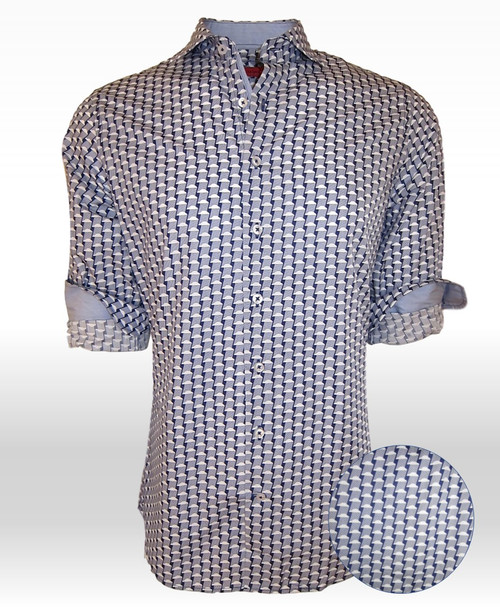 Our very best buttery, cool, crisp very soft Pima Cotton shirt is just waiting for you!  A small print of Blue,Navy and White lends it'self to any jean or pant you probably have in your wardrobe already.  Notice the embellishment in the collar and cuffs.....a coordinating woven blue to give this great look a most original touch.  Morning, noon or night, a business meeting, lunch or dinner you will be dressed to perfection. 100% Pima Cotton