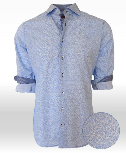 "Accent your summer wardrobe with this most handsome light blue and white print.    A ""go-to"" shirt that from morning until night will look great with any color pant.   Another one of Georg Roths finest Imported European 100% cotton fabrics to keep you cool and comfortable in the warm weather approaching.   The collar stand is in a complimentary navy and white very small check as are the cuffs when rolled.   For style and fit this is the way to go.   Georg Roth prides himself on his fit to perfection and this is just that!"