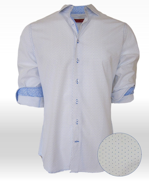 """Reflect your inner self....the real """"you"""" in this handsome, sophisticated yet subtle Blue on White print. Our finest 100% Pima Cotton will keep you cool and comfortable all summer.  The companion small print fabric is on the cuffs for that extra touch of originality that Georg Roth is so well known for.  Georg prides himself on his perfect fit and custom prints that give each and every one of his shirts that special look!    Morning, noon or night with any jean or pant you will look your very best."""