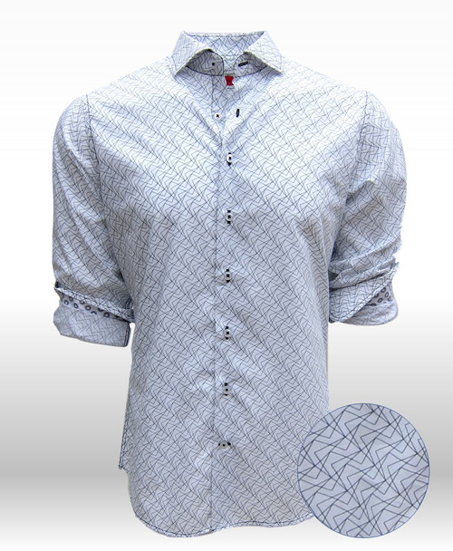 "What is Black and White, elegant and tasteful?    That's right......this classy Georg Roth shirt!  A Black and White soft print on our very finest 100% Pima Cotton that  lends it's self to comfort and ease for our summer days and evenings.   A shirt designed to take you anywhere, anytime.   The cuffs are embellished with a complimentary small print of Black and White that gives this shirt a great new look when you roll the sleeves.   Our perfect fit and great design will make this your very special ""go to"" shirt."